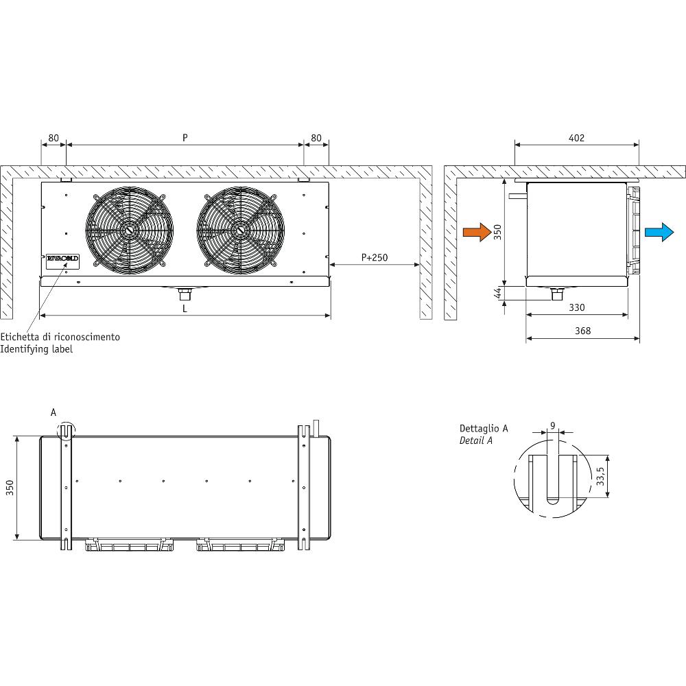 Aerovaporatore RC dimensioni