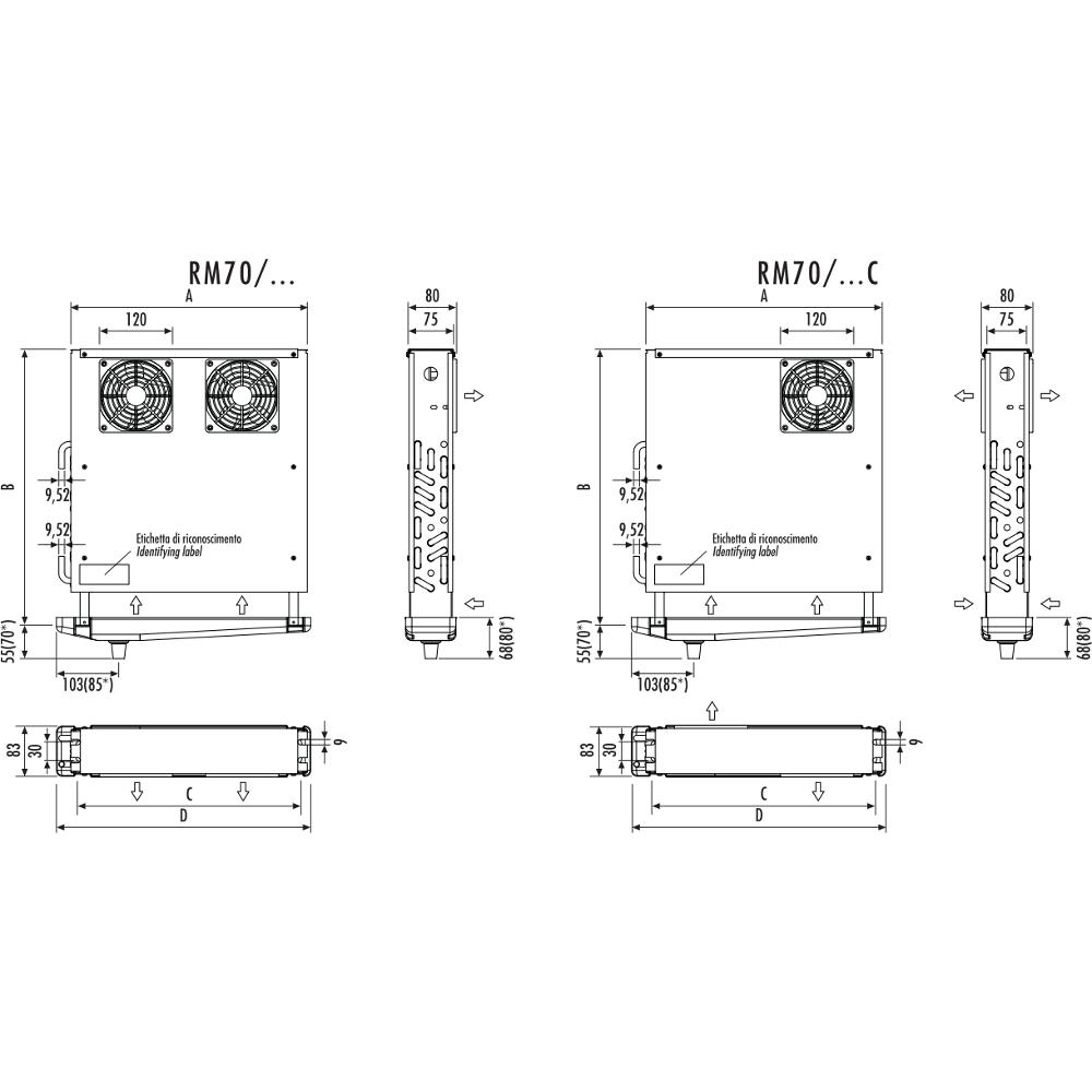 Aerovaporatori RM70 dimensioni