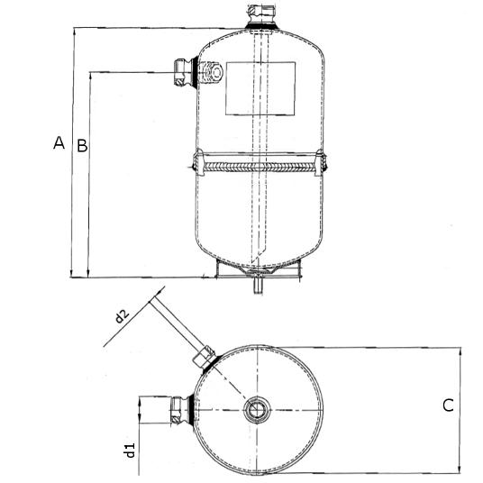 Ricevitore di liquido RV dimensioni